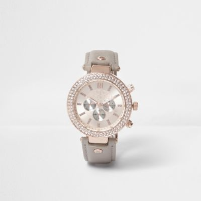 River IslandRiver Island Womens Plus grey watch with embellished dial