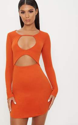PrettyLittleThing Burnt Orange Double Cut Out Long Sleeve Bodycon Dress