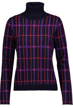 Carven Metallic Checked Wool-Blend Jacquard Turtleneck Sweater