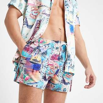 River Island Ecru Miami print swim shorts