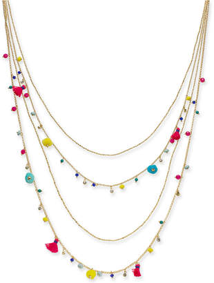 """INC International Concepts I.n.c. Gold-Tone Multicolor Bead & Tassel Layered Necklace, 28"""" + 3"""" extender, Created for Macy's"""