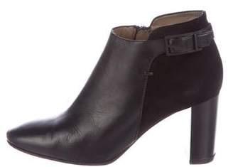 Aquatalia Leather Round-Toe Booties
