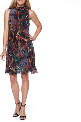 Robbie Bee Sleeveless Paisley A-Line Dress