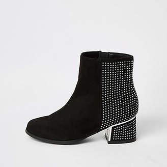 River Island Girls black diamante heel ankle boots