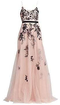0731a759 Marchesa Women's Sleeveless Metallic Floral Beaded Tulle A-Line Gown