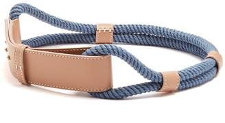 Leather and rope waist belt