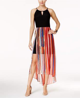 Eci Printed Chiffon Keyhole Dress $80 thestylecure.com