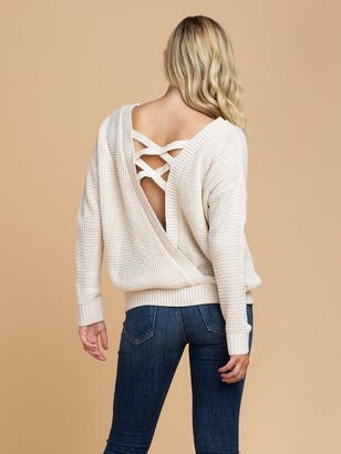 Goodnight Macaroon 'Katy' Wrapped Criss Cross Strap Knitted Sweater