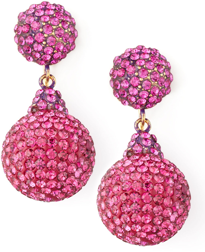 Jose & Maria Barrera Pave Crystal Double-Drop Earrings, Fuchsia
