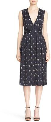 Women's Victoria Beckham Daisy Print Twill Satin Dress $2,550 thestylecure.com