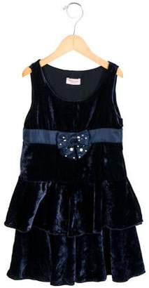 MonnaLisa Girls' Velvet Bow-Adorned Dress w/ Tags