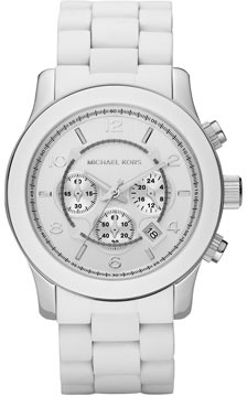 Michael Kors  White Oversized PU Chronograph Watch