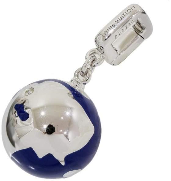 Louis VuittonLouis Vuitton 18K White Gold 0.01 Ct Diamond Globe Earth Enamel Charm Pendant