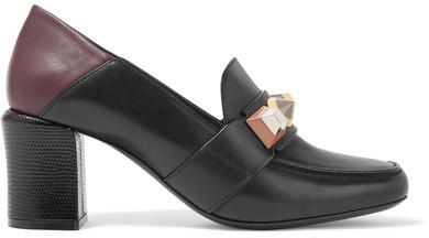 Fendi - Rainbow Studded Leather Pumps - Black