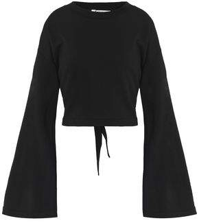 Alexander Wang Tie-Back Mélange Cotton-Blend Terry Sweatshirt
