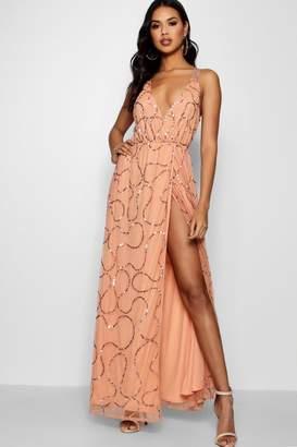 boohoo Tall Boutique Wrap Sequin Maxi Dress