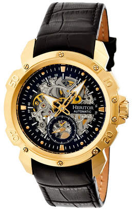 Heritor Automatic Conrad Gold & Black Leather Watches 42mm