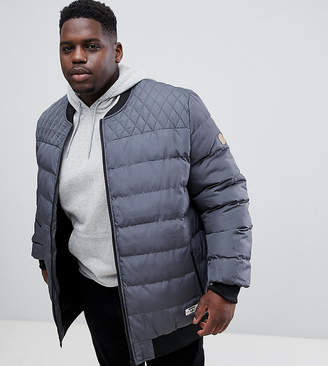 Duke King Size Quilted Bomber Jacket In Charcoal