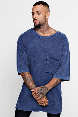 boohoo Boxy Fit Acid Wash Knitted T-Shirt