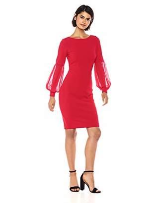 Calvin Klein Women's Solid Sheath with Chiffon Blouson Sleeve