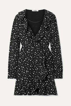 Miu Miu Ruffled Printed Silk-crepe Wrap Mini Dress - Black