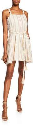 Alexis Dimma Striped Sleeveless Mini Linen Dress w/ Braided Belt