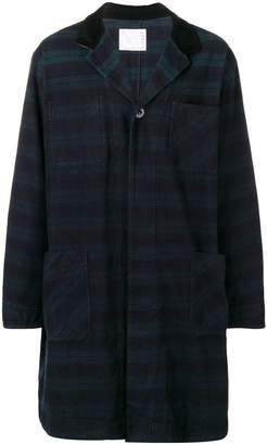 Sacai checked single breasted coat