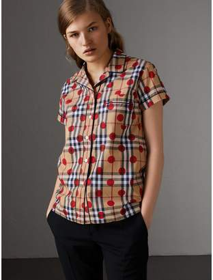 Burberry Short-sleeve Spot Print Check Cotton Shirt