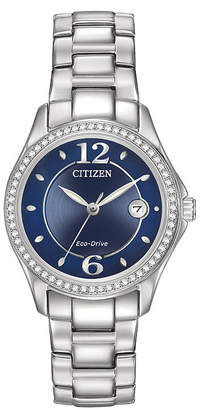 Citizen Eco-Drive Silhouette Womens Crystal-Accent Stainless Steel Bracelet Watch FE1140-86L