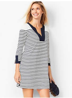 Talbots Stripe Cotton Pique Split-Neck Tunic