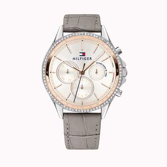 Tommy Hilfiger Dress Watch With Grey Leather Strap