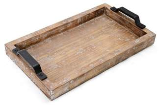 Element 16 Inch by 9.5 Inch Distressed White Wash Wood Tray