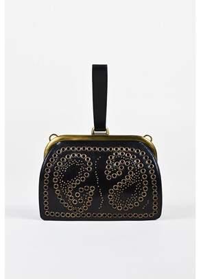 1 Black Leather Studded Grommet Embroidered Wristlet Clutch Bag