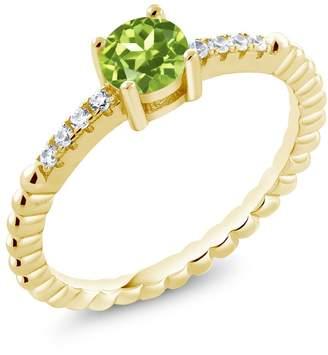 Swarovski Gem Stone King 0.58Ct Green Peridot White Zirconia 18K Yellow Gold Plated Silver Ring