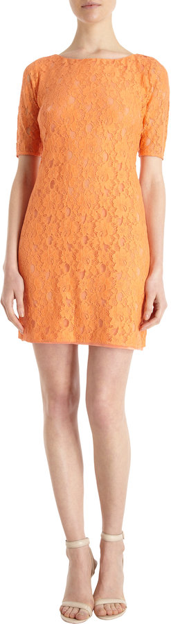 Barneys New York Elbow Sleeve Lace Dress