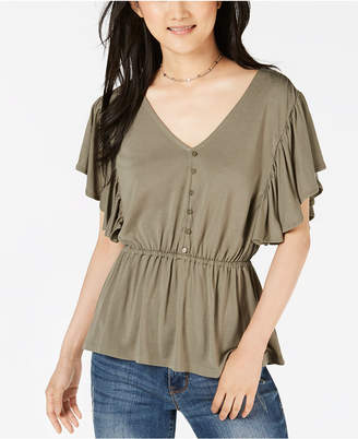 American Rag Juniors' Button-Front Flutter Top, Created for Macy's