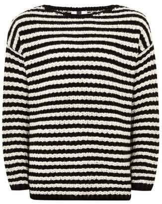 Topman Mens Black White Stripe Fisherman Sweater