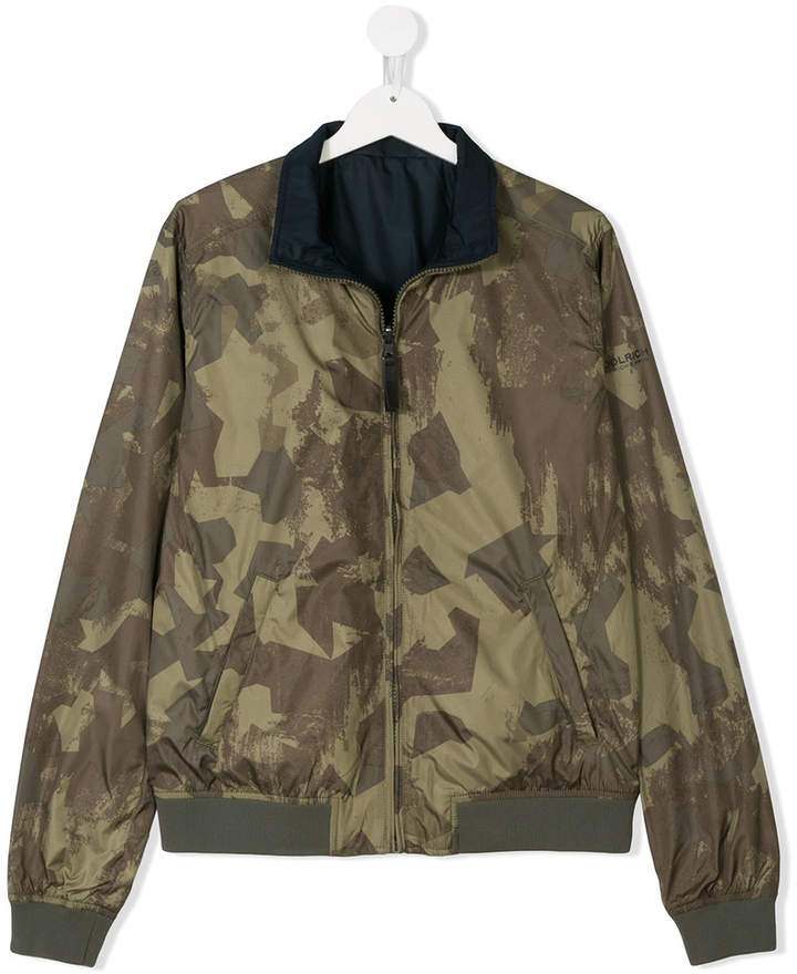 Woolrich Kids TEEN camouflage print reversible bomber jacket