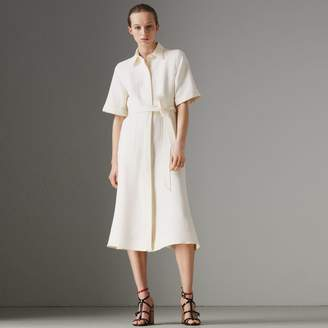 Burberry Short-sleeve Wool Silk Shirt Dress , Size: 02, White