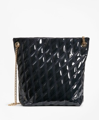 Brooks Brothers Quilted Patent Leather Shoulder Bag