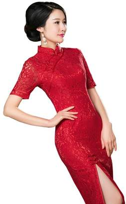 Angcoco Womens Chinese Traditional Apparel Angcoco Women's Lace Short Sleeve Front Slit Slim Fit Cheongsam Dress QiPao