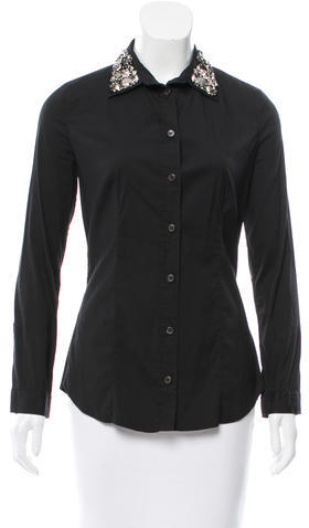 prada Prada Embellished Button-Up Top