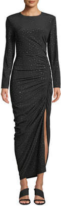 Veronica Beard Amara Ruched Long-Sleeve Embellished Dress