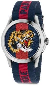 Gucci Le Marche Des Merveilles Tiger Stainless Steel& Striped Nylon Strap Watch