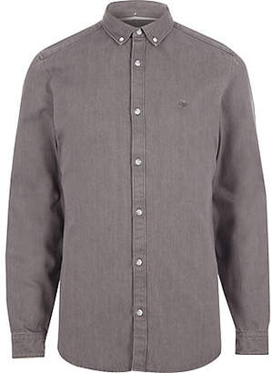 River Island Mens Grey long sleeve denim shirt