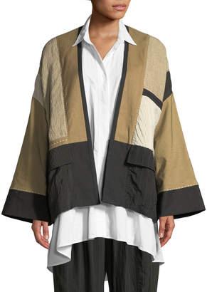 Neiman Marcus Urban Zen Linen-Blend Patchwork Kimono Jacket