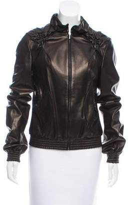 Fendi Leather Ruffle-Trimmed Jacket