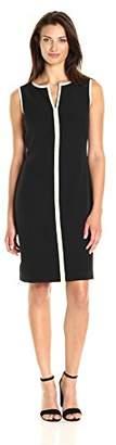 Kasper Women's Stretch Crepe Split-Neck Sheath Dress