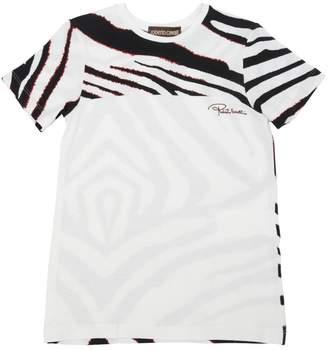 Roberto Cavalli Zebra Printed Viscose Jersey T-Shirt