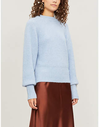 Sandro Embellished-cuff balloon-sleeve knitted jumper